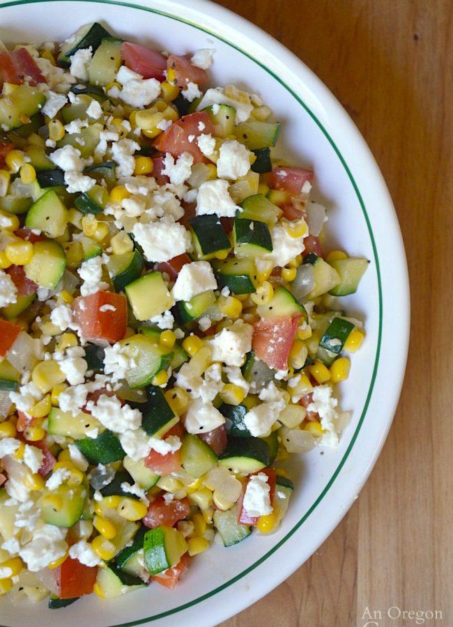 Zucchini Corn and Tomato Saute with Feta- a fresh garden-to-table side dish