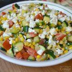 Zucchini Corn and Tomato Saute with Feta