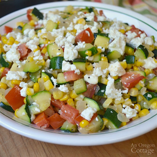 Zucchini Corn and Tomato Saute with Feta