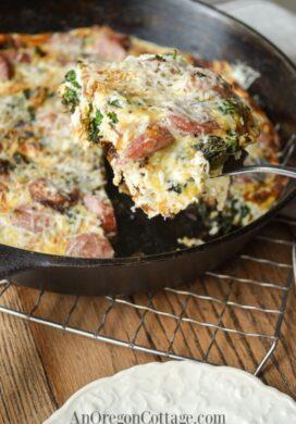 kale chard sausage frittata feature