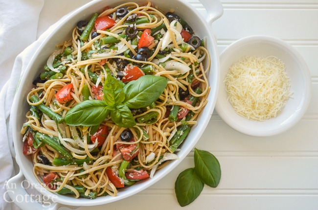 summer pasta salad above