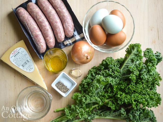 swiss chard-sausage frittata ingredients
