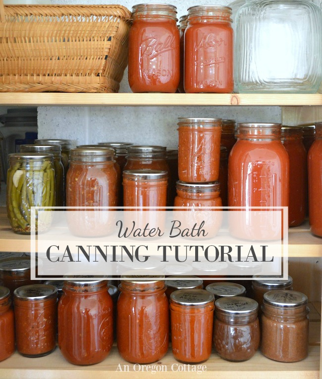 Water bath canning tutorial-canned goods on shelves