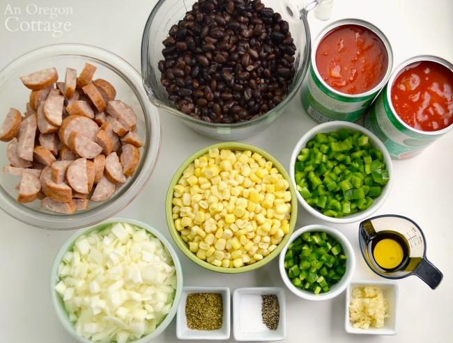 Black Bean Sausage Soup ingredients