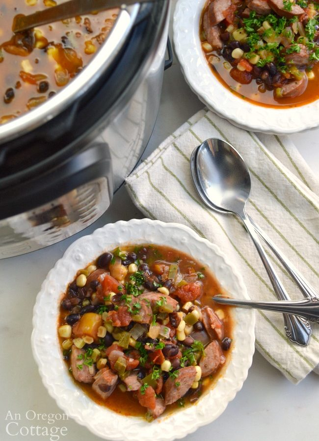 Serving Black Bean Sausage Soup