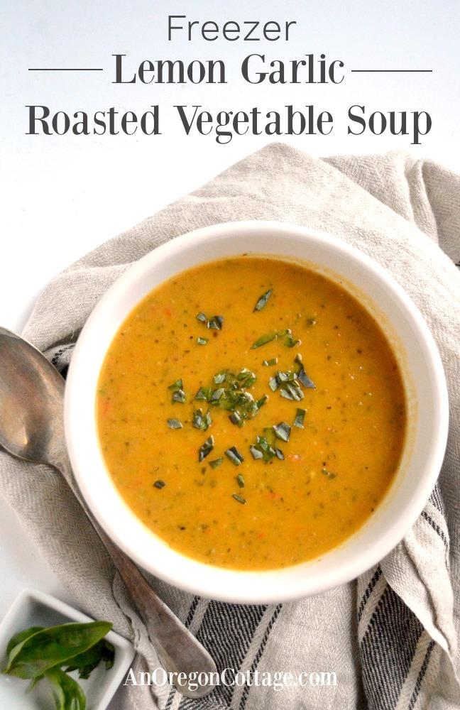 Freezer Lemon Garlic Roasted Vegetable Soup