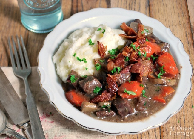 French Beef Stew in bowl with potatoes