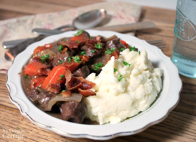 French Beef Stew with sour cream mashed potatoes