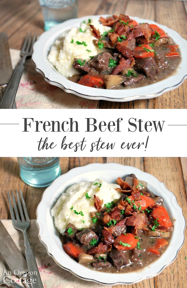 French beef stew with mashed potatoes
