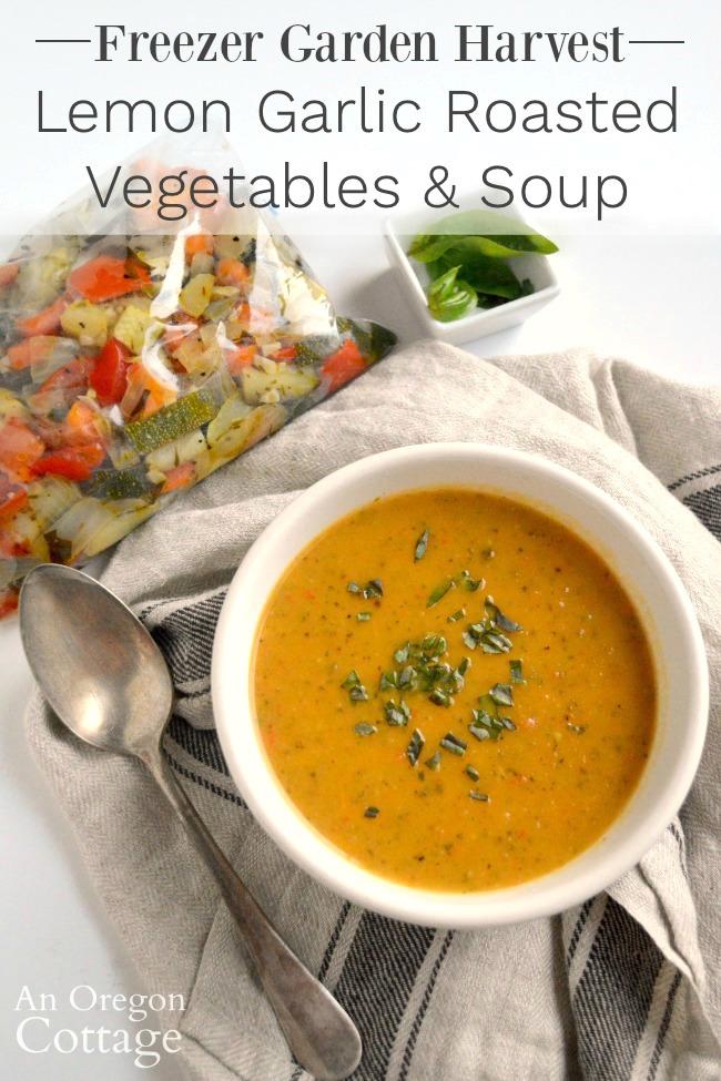 Garden Harvest Lemon Garlic Roasted Vegetable Soup from Frozen Vegetables