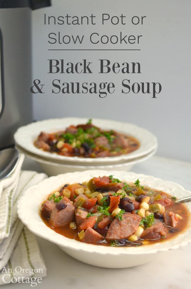 Instant Pot-Slow Cooker Black Bean Sausage Soup_