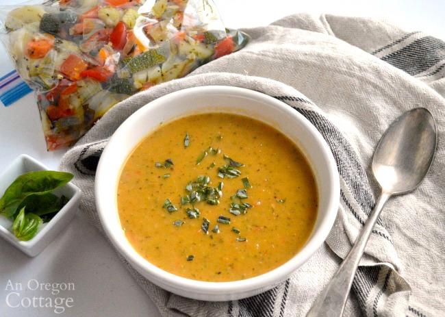 Lemon Garlic Roasted Vegetable soup-freezer vegetables
