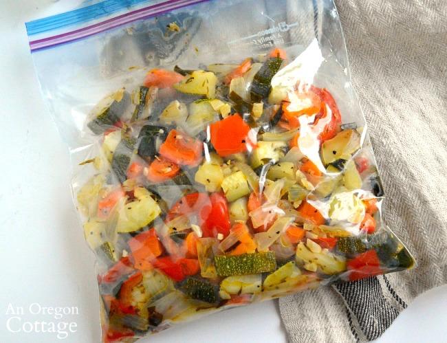 Lemon Garlic Roasted Vegetables ready for freezer