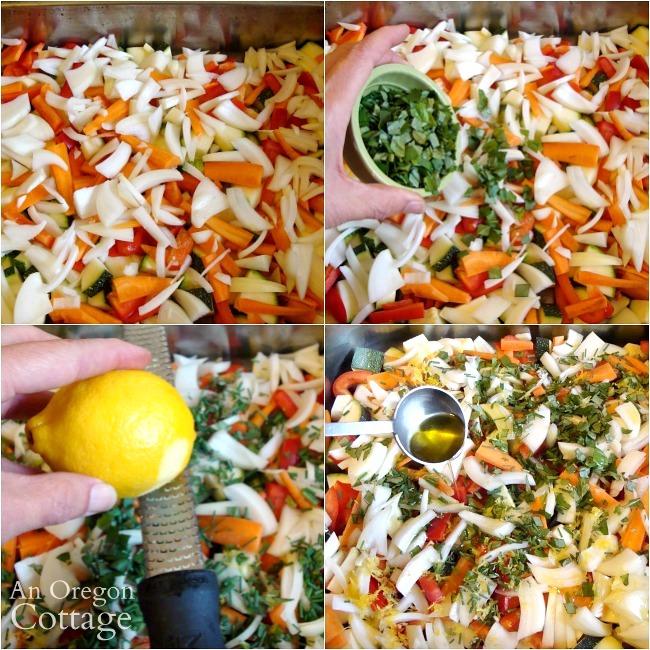 Making Freezer Lemon Garlic Roasted Vegetables