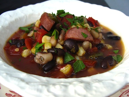 black bean-sausage soup