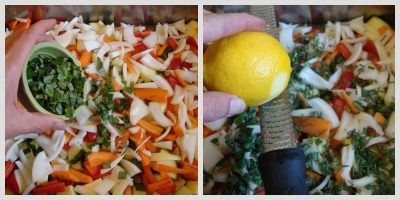 herbs and lemon for veg.