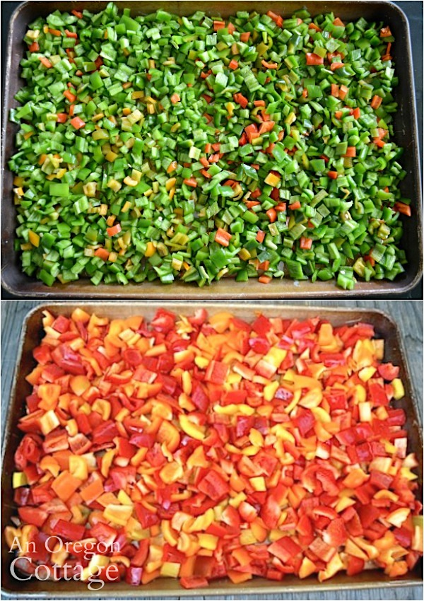 hot and sweet peppers ready for freezing