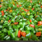 peppers on tray ready for freezing