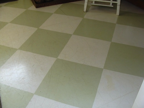 Laundry Green-Cream Checkered Floor - Scratched :: An Oregon Cottage