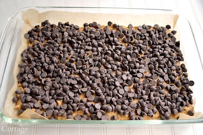 Peanut Butter Swirl Bars-chocolate chip layer