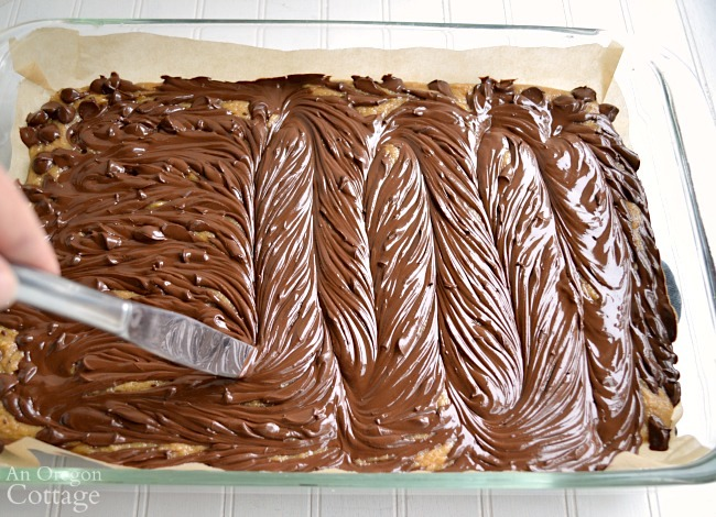 Peanut Butter Swirl Bars-swirling chocolate