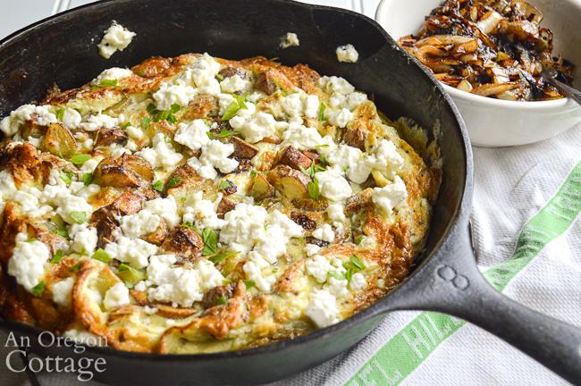 Potato feta frittata with caramelized onions