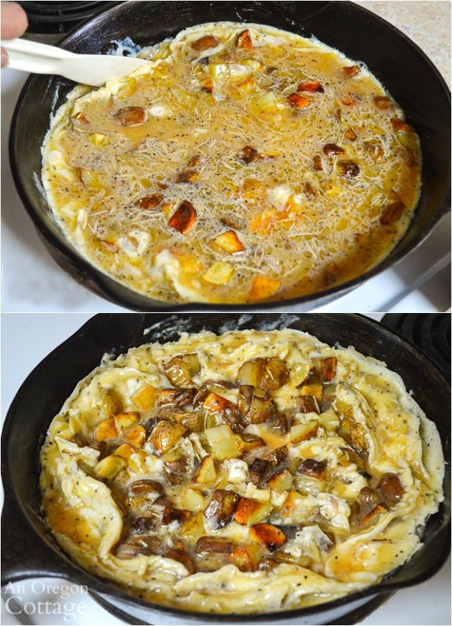 making potato frittata with onions