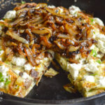 potato caramelized onion frittata close