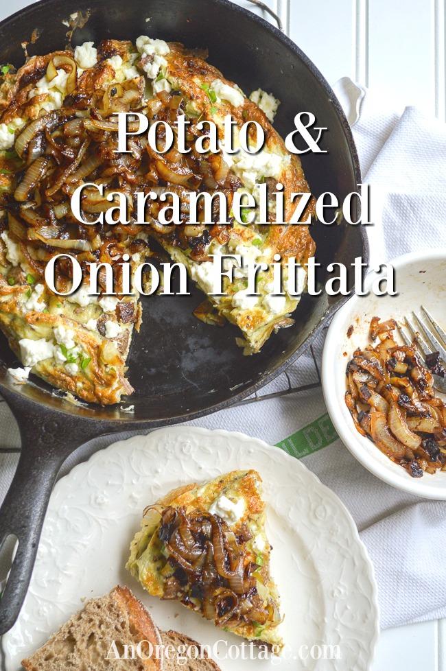 potato caramelized onion frittata cut