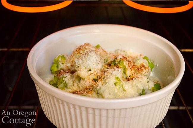 Broiling Broccoli Cauliflower Parmesan