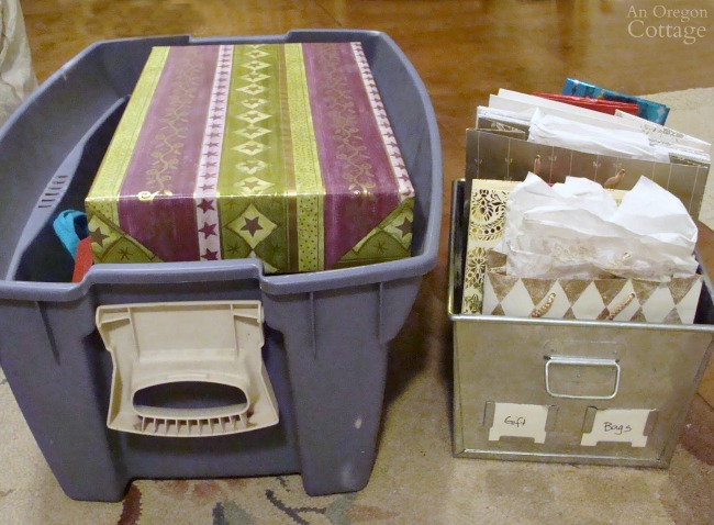 Gift Wrapping System-stored boxes and bags