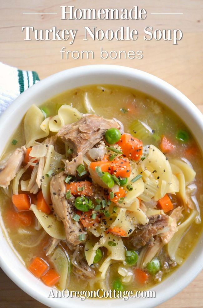 Homemade Turkey Noodle Soup from bones