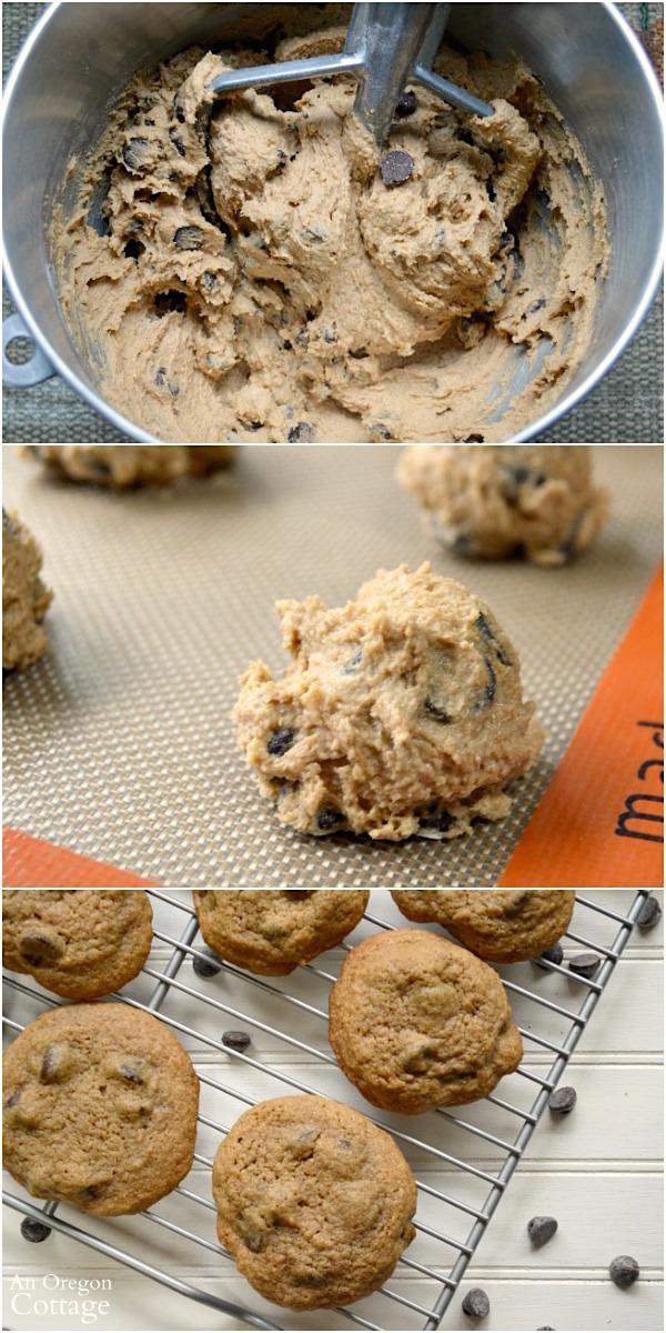 Making mocha chip cookies