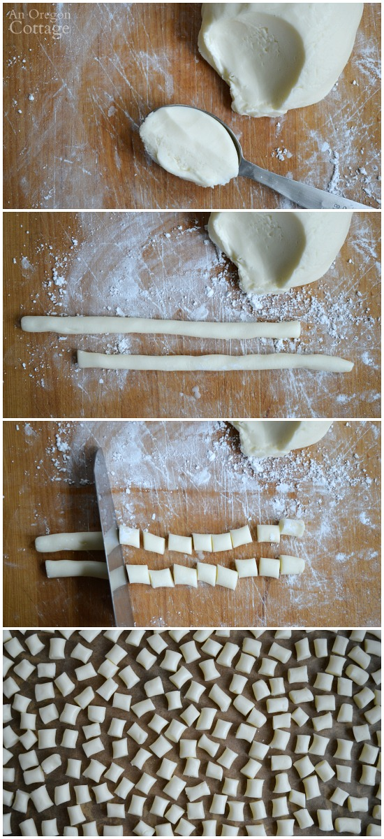 Scooping, shaping, cutting, and drying homemade butter mints dough