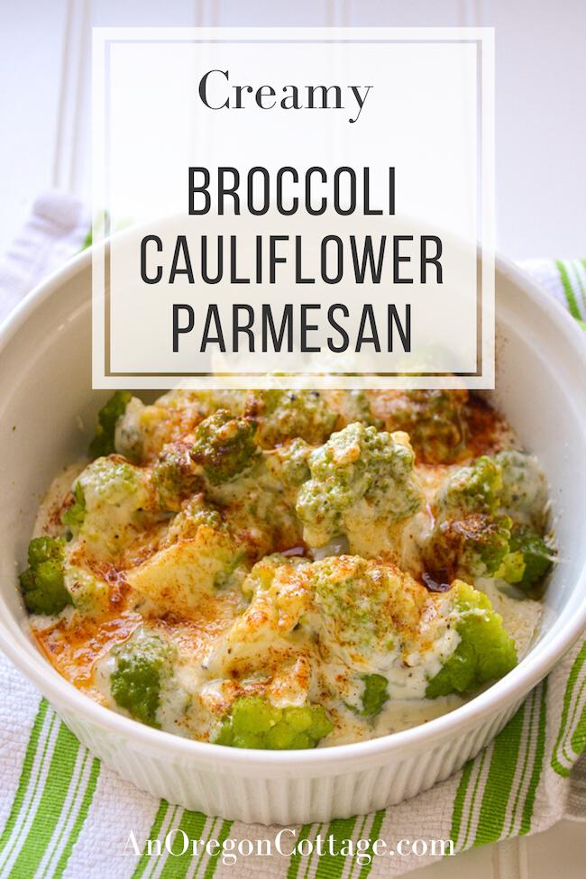 creamy broccoli cauliflower parmesan