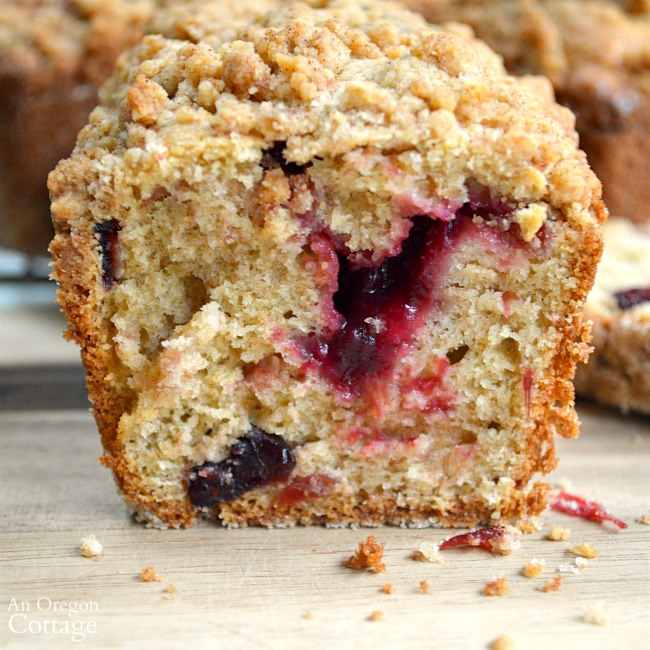 Cranberry Crumb Loaves with cranberry sauce center