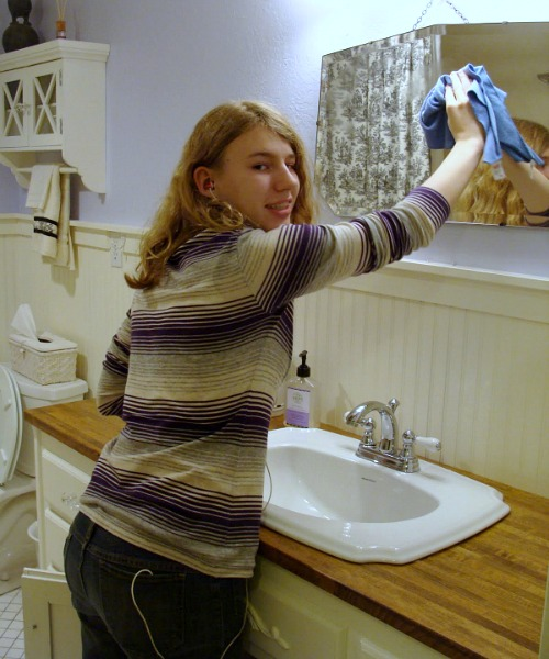 Family Traditions: cleaning bathroom mirror