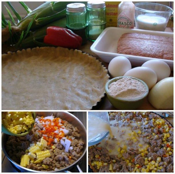 Making Simple Corn and Sausage Tart - An Oregon Cottage