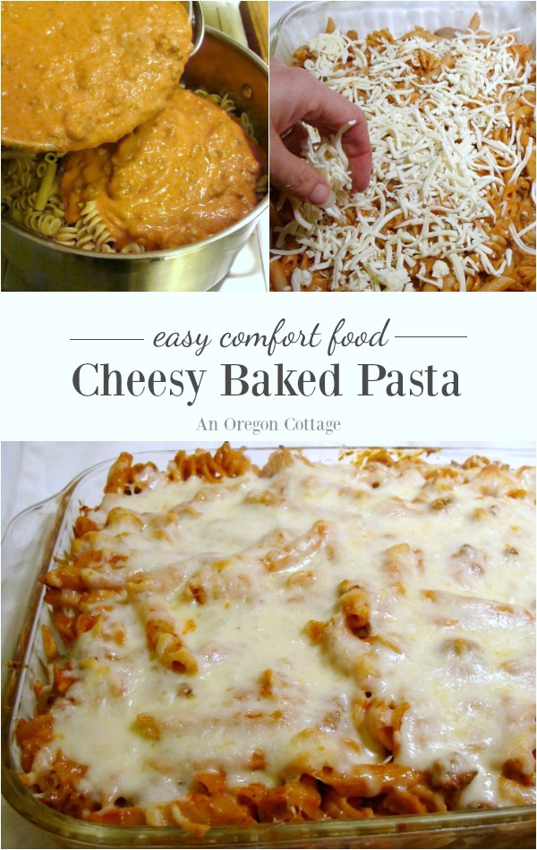 Easy cheesy baked pasta may be the ultimate comfort food! A family favorite with cheese in the sauce and layered in the dish.