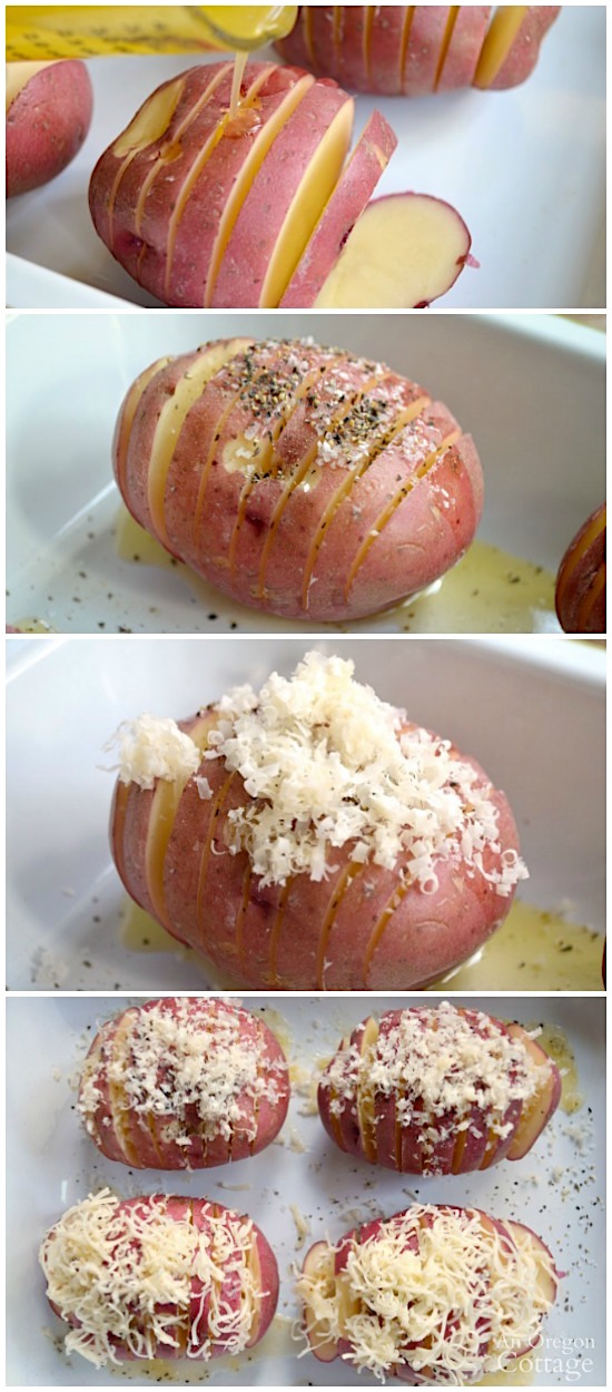 Making easy baked potato fans is a matter of slicing, drizzling butter, adding S&P and cheese and baking!