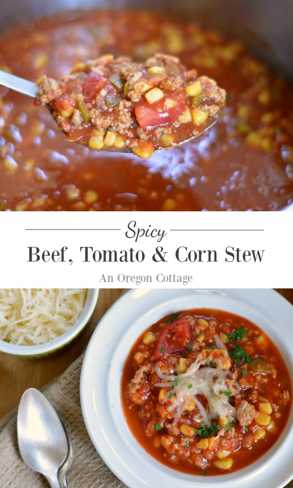 Spicy Beef, Tomato and Corn Stew is a real food, hearty easy recipe perfect for busy weeknights. Pair it with a salad and chips or quesadillas for a Southwest flavored meal.
