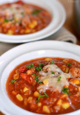 Spicy Beef Tomato and Corn Stew is a real food, hearty easy recipe perfect for busy weeknights. Pair it with a salad and chips or quesadillas for a Southwest flavored meal.