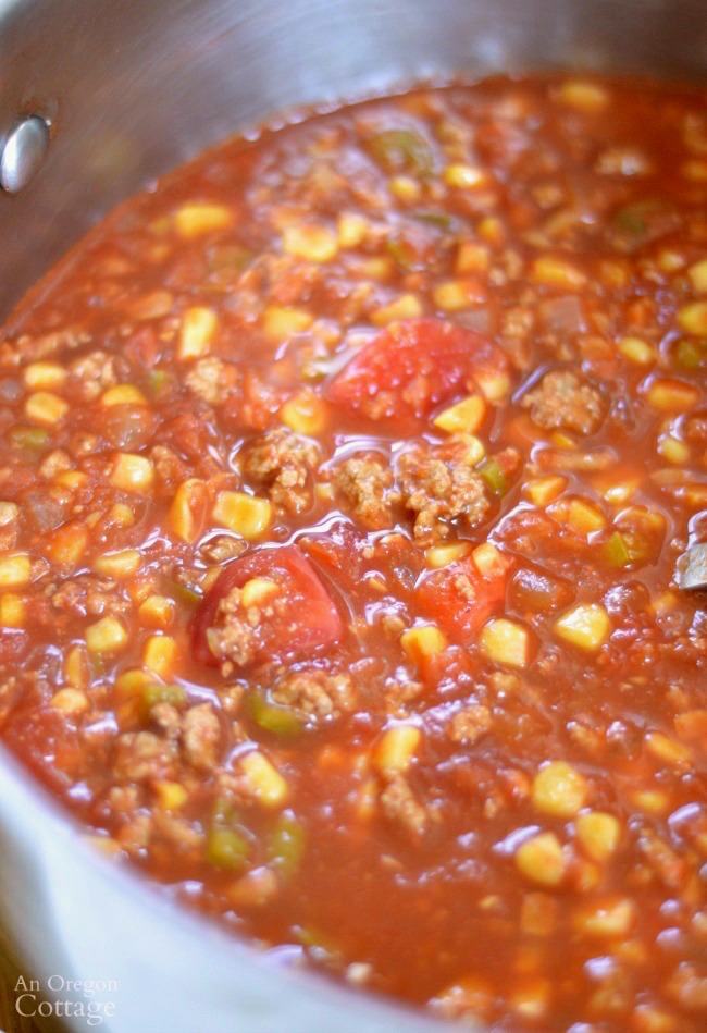 Spicy Ground Beef Tomato Corn Stew in stockpot