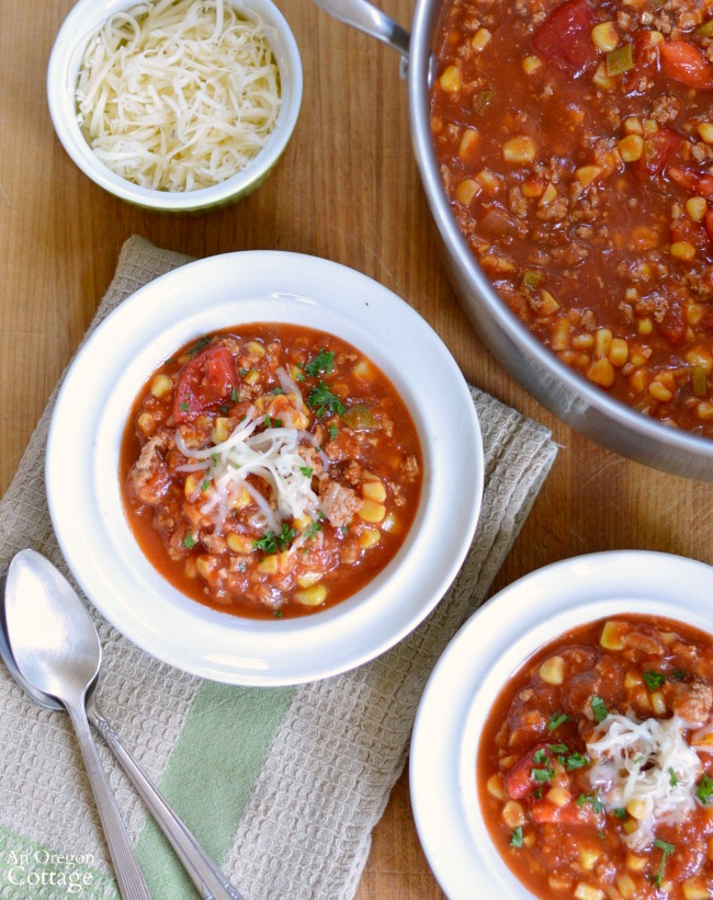 Spicy Ground Beef Tomato and Corn Stew dinner