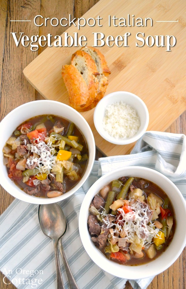 Crockpot Italian Vegetable Beef Soup-bowls above