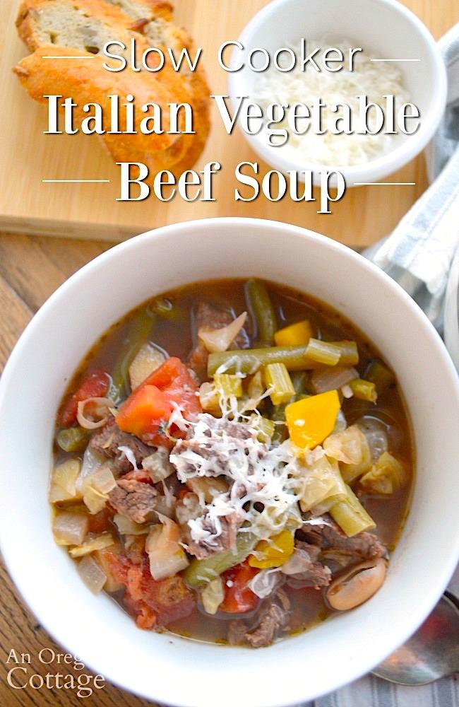 Italian Vegetable Beef Soup in bowl