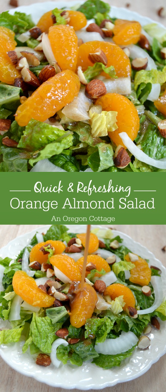 Need a quick dinner salad? Orange Almond Salad comes together in minutes, is simple & refreshing with it's easy dressing, but still worthy of serving to guests.