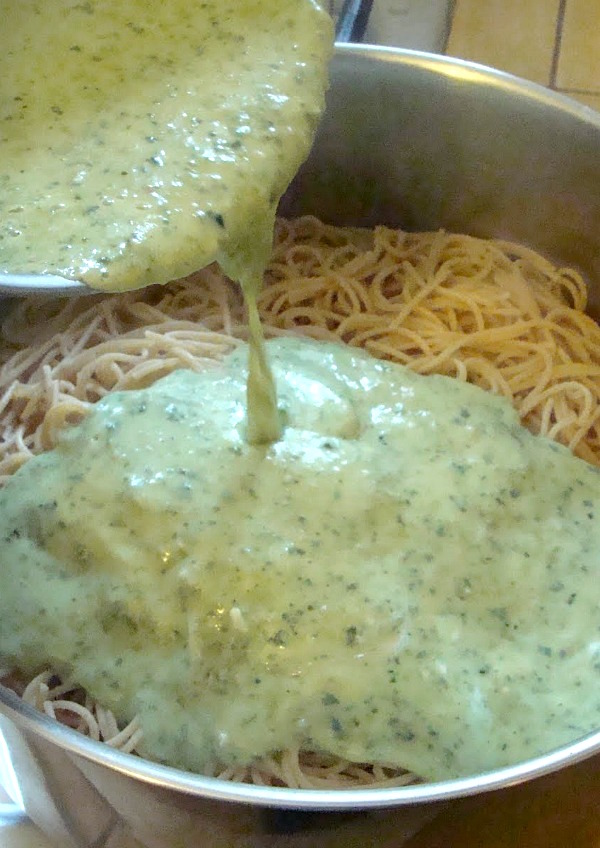 Creamy Pesto Pasta-dinner ready in just a few minutes!