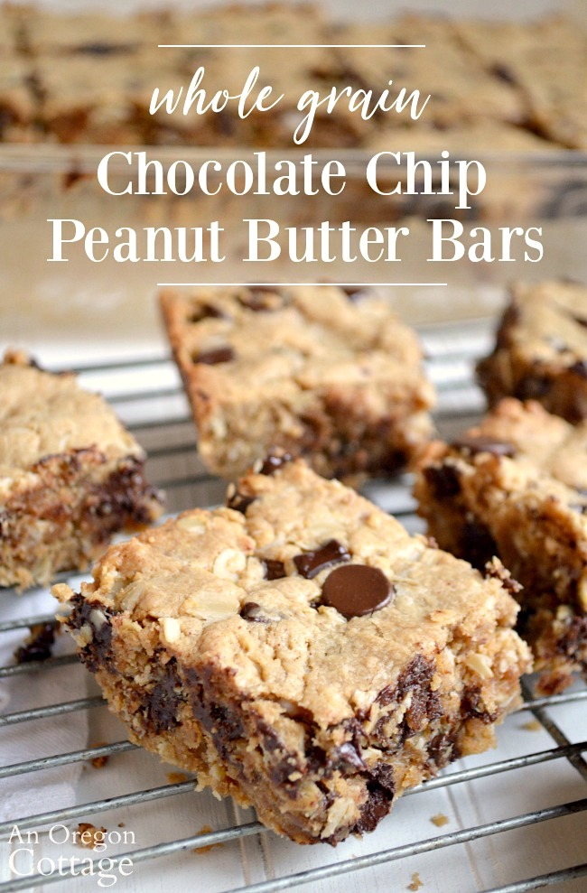 Whole Grain Chocolate Chip Peanut Butter Bars on rack