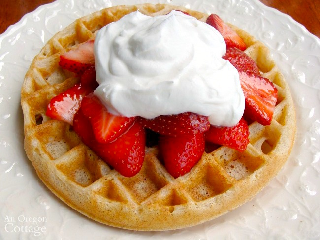 Sourdough Waffles with strawberries and whipped cream